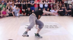 Breakdancer performs at Street fight festival on street Stock Footage