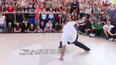Breakdancer at Street fight festival on street stage Stock Footage