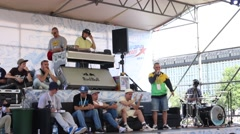 DJ and jury at Street fight festival and street stage Stock Footage