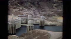 1967: a large mountain dam set stretching across canyon walls ARIZONA Stock Footage