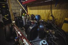 Various mechanic equipments on worktop Stock Photos