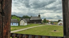 Timelapse of natural museum, view on old wooden church, dolly slider moving. Stock Footage