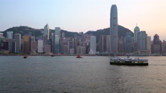 Hong Kong skyline seen from the Kowloon Side of the Harbour, Hong Kong, China, Stock Footage