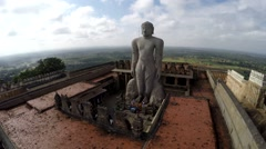 Aerial View of Jain Temple India - statue of Bahubali Stock Footage