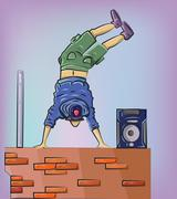 Breakdancer on the brick wall Stock Illustration