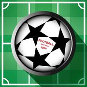 Champions league soccer ball with starts Stock Illustration