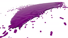 Pink fluid flow hits a surface. syrup Stock Footage