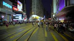 Traffic and people in Causeway Bay,  Central, Hong Kong Island, Hong Kong, China Stock Footage