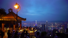 Lion's Pavilion lookout point at Victoria Peak, Hong Kong Island, Hong Kong Stock Footage