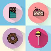 Sweet treats round icon set Stock Illustration