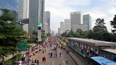 Car Fee Day on Sudirman avenue in Jakarta city. Stock Footage