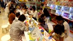 Children in hand painted, in Shenzhen Stock Footage