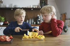 Boy assisting brother to chop bell pepper at table in kitchen Stock Photos