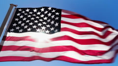 American flag and sunlight Stock Footage
