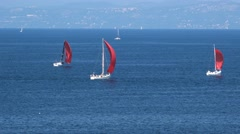 Sailing yacht boat on sea near Portoroz, Slovenia Stock Footage