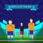 Two Soccer Players and Referee on the game field Stock Illustration