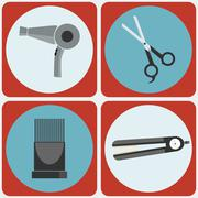 Feminine Beauty Hairstyling Tools colorful icon set Stock Illustration