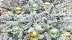 Artificial Tree in the Snow With Balls Stock Footage