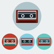 Music Tape Colorful icon set Stock Illustration
