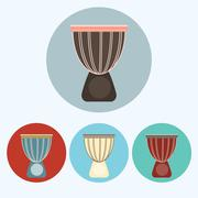 Djembe colorful icon set Stock Illustration