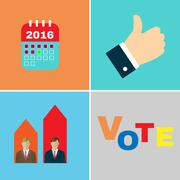 Presidential Elections 2016 icon set Stock Illustration