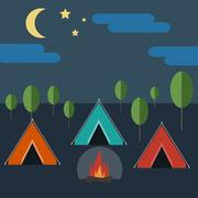 Camping in Wild Nature Stock Illustration