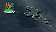 Carriacou with Coat Of Arms Animation Map Stock Footage