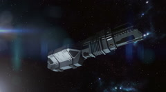 Futuristic spaceship flying in space Stock Footage