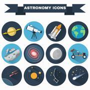 Astronomy Icons Set Stock Illustration