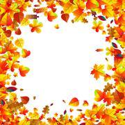 Autumn leaves scattered background. Oak, maple and rowan Stock Illustration
