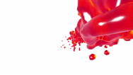 Red liquid stream on white background.. syrup Stock Footage