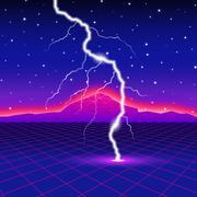Neon new retro wave computer landscape with lightning Stock Illustration