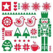 Christmas red and pattern with nutcracker - folk art style Stock Illustration