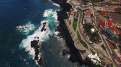 City and pools of Porto Moniz aerial view Stock Footage