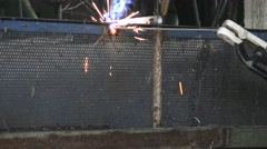 Worker use electric welding for cutting ole metal. Stock Footage