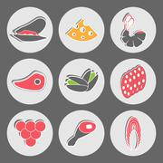 Seafood and Fast Food Vector Snacks Piirros