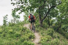 Rear view of man riding mountain bike on dirt track up hill Stock Photos