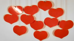 Many red hearts. Abstract background Stock Footage