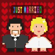 Just Married Invitation Greeting Card Stock Illustration