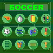 Football Game Flat Design Icons Piirros