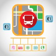 Travel by Bus GPS Navigation Map Stock Illustration
