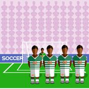 Cote d'Ivoire Soccer Club Penalty on Stadium Stock Illustration