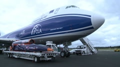 Boeing 747-F Static of the Bloodhound Supersonic car & Boeing 747-F Stock Footage