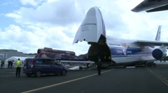 Bloodhound Supersonic Car being Loaded onto Antonov An-124-100 Stock Footage