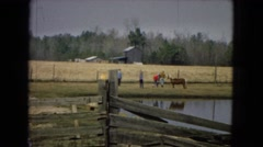 1967: people visiting a farm are petting an animal across a lake with a barn  Stock Footage