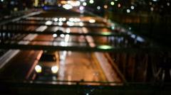 Brooklyn Bridge, Oncoming Night Traffic, Blurred Lights Stock Footage