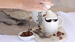 Microwave chocolate homemade Brownies Brownie in a mug cup recipe Stock Footage
