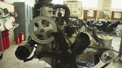 Truck engines in the hangar Stock Footage