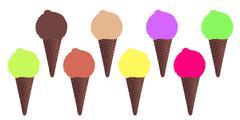 8 Ice Cream Cones Stock Illustration