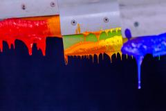 Color drop from rubber handle Stock Photos